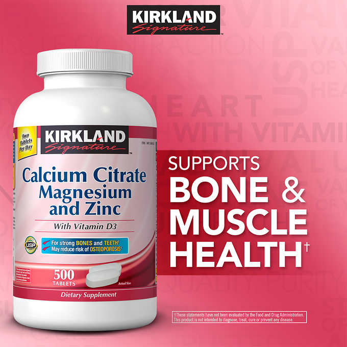 Kirkland Signature Calcium Citrate 500 mg., 500 Tablets 檸檬酸鈣 含VD/鎂/鋅 (500片)