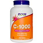 NOW Foods Vitamin C-1000 with Rose Hips 天然維他命C (250粒)