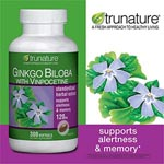 TruNature Ginkgo Biloba with Vinpocetine 增進記憶力天然草藥 - 銀杏 (300粒)