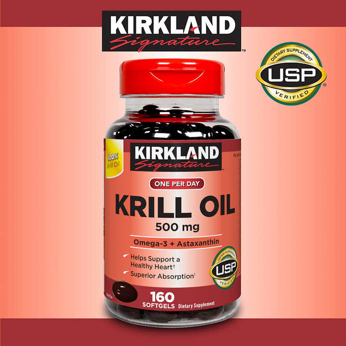 Kirkland Signature Krill Oil 500 mg., 160 Softgels 磷蝦油蝦青素 (160粒)