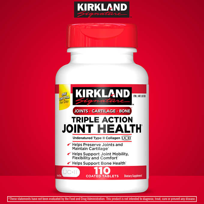 Kirkland Signature Triple Action Joint Health, 110 Coated Tablets 活性骨膠原蛋白三倍維骨力 (110片)