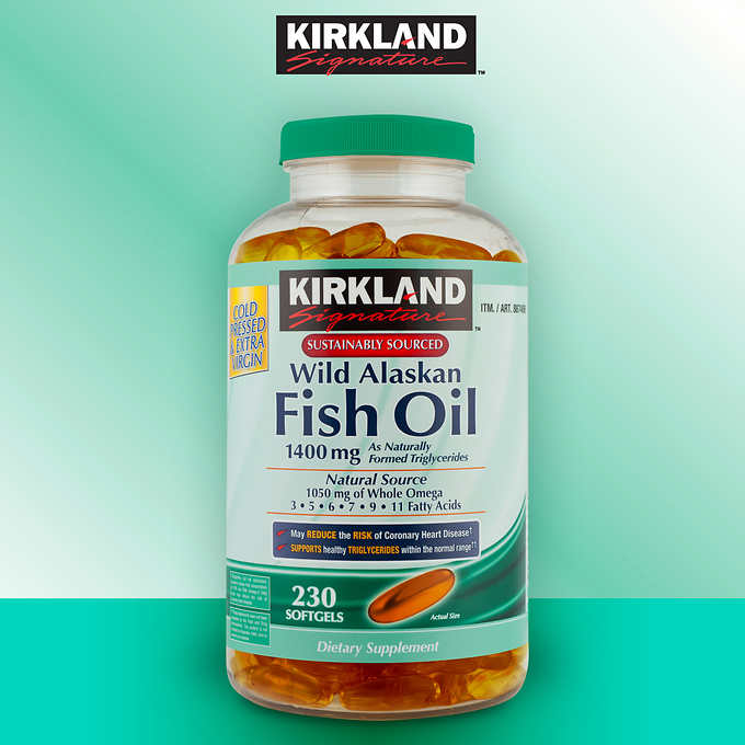 Kirkland Signature Wild Alaskan Fish Oil 1400 mg., 230 Softgels 阿拉斯加野生深海魚油軟膠囊 (230粒)