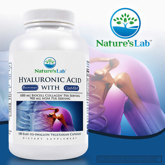 Nature's Lab Hyaluronic Acid with BioCell Collagen, 180 Vegetarian Capsules 透明質酸及膠原蛋白素食者膠囊 (180粒)