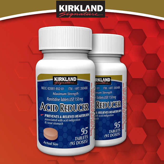 Kirkland Signature Acid Reducer, 190 Tablets 降胃酸片95粒*2瓶 (190粒)