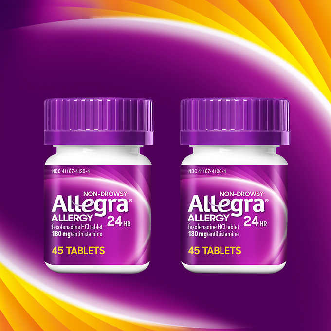 Allegra Allergy, 90 Tablets  鹽酸非索非那定片 (2 Bottles, 45 Tablets Each)