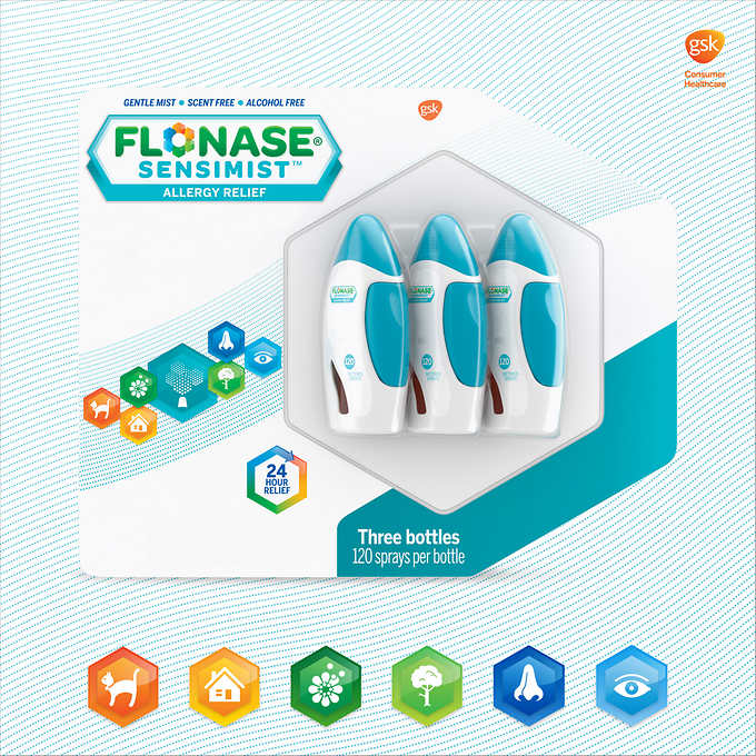 Flonase Sensimist Allergy Relief, 3 Bottles 過敏緩解噴霧