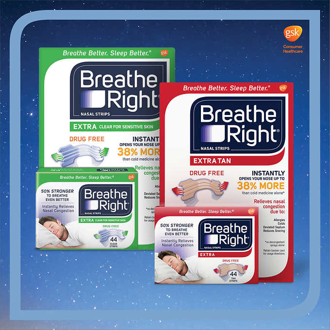Breathe Right EXTRA Nasal Strips, 44 Count 止鼻塞帶 (44条)